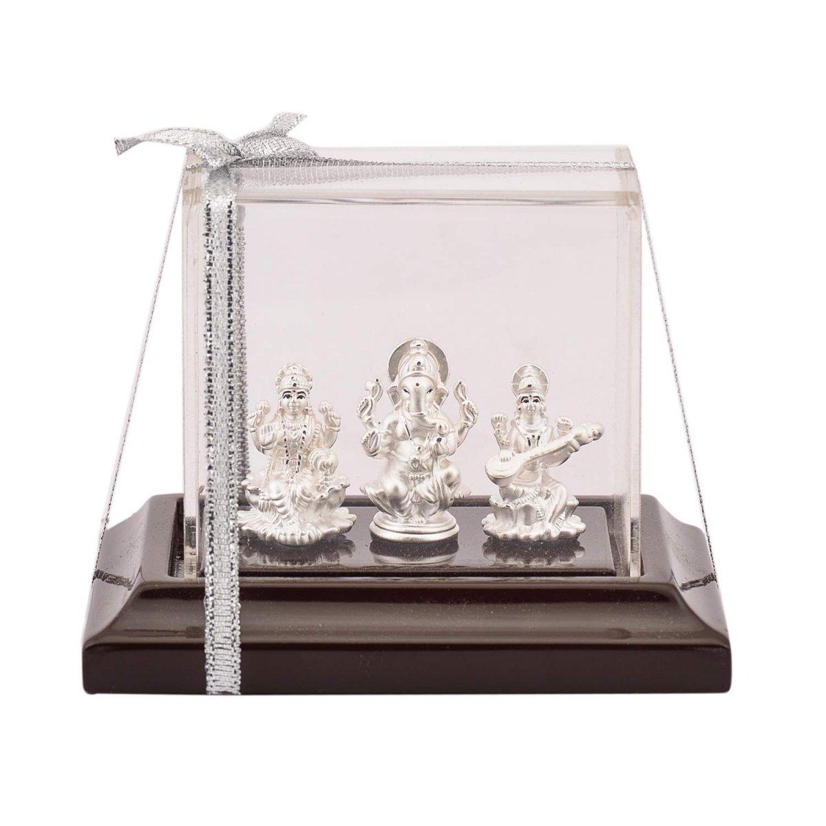 Silver Laxmi Ganesh Saraswati Idol