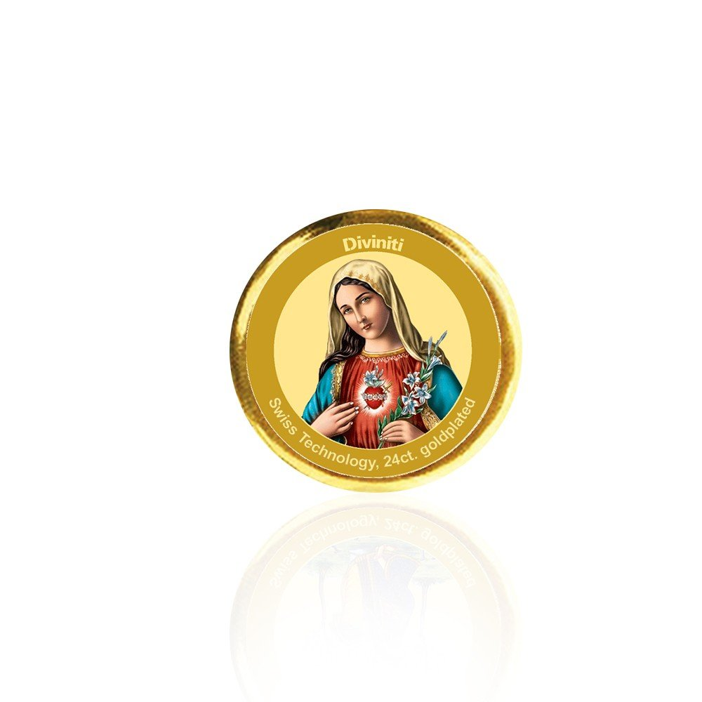 24K GOLD PLATED COIN SINGLE SIDED SIZE 3C MOTHER MARY