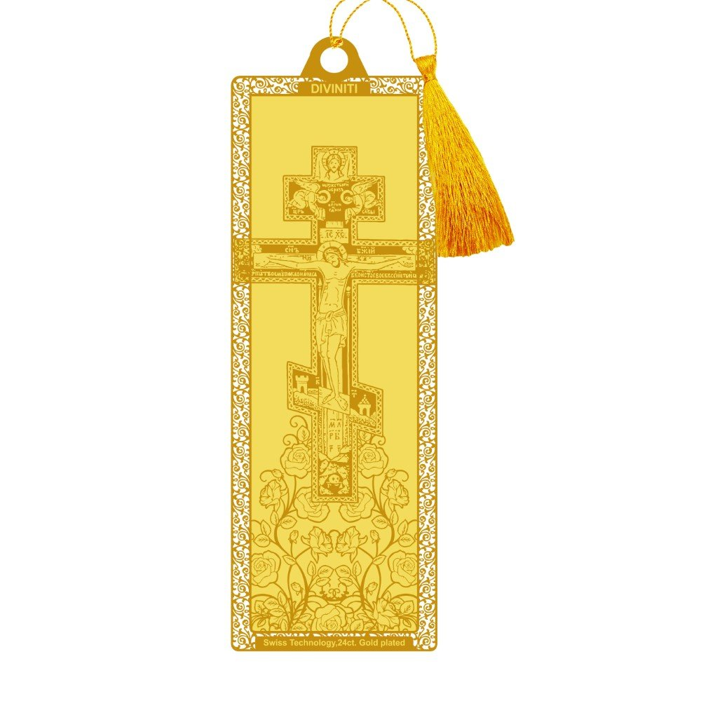 24K GOLD PLATED BOOKMARK ACRYLIC HOLY CROSS