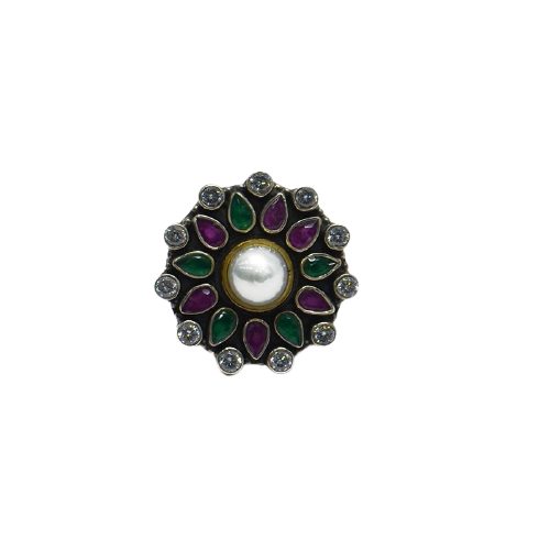 PEARL SUNFLOWER  WOMENS ANTIC SILVER RING