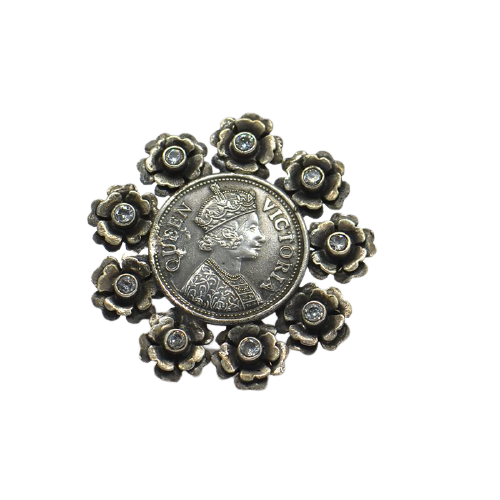 VICTORIA FLORAL ADJUSTABLE WOMENS ANTIC SILVER RING