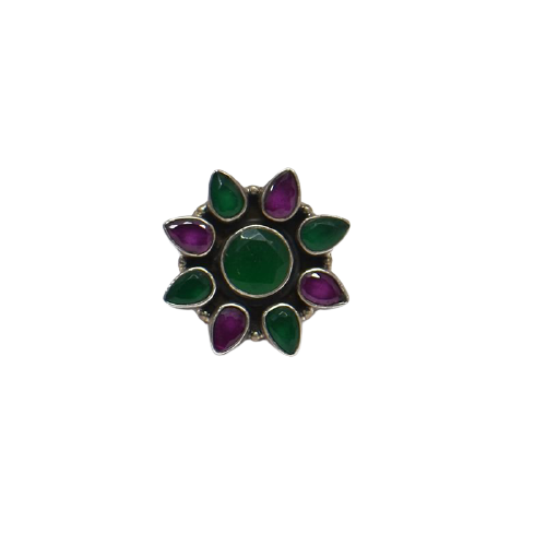 CUT STONE FLORAL WOMENS ANTIC SILVER RING