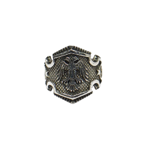 92.5 OXIDIZED SILVER DOUBLE HEADED EAGLE MENS RING