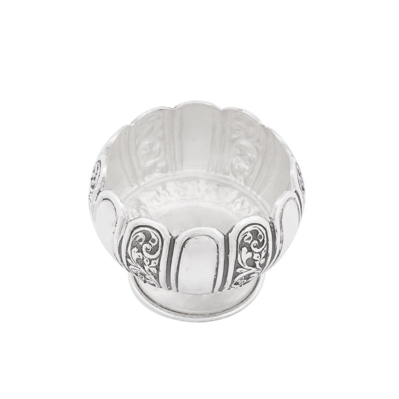 HNAD CRAFTED OXIDIZED 925 STERLING SOLID SILVER FLOWER BOWL