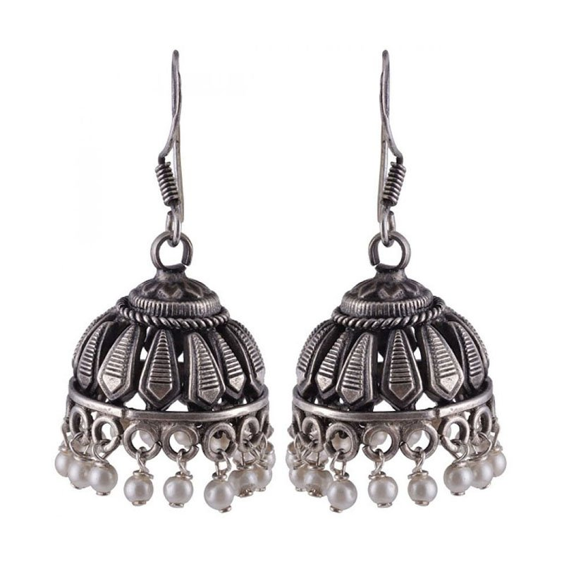 92.5 SILVER FISH HOOK  JHUMKA EARRINGS FOR HOUSE WIFE