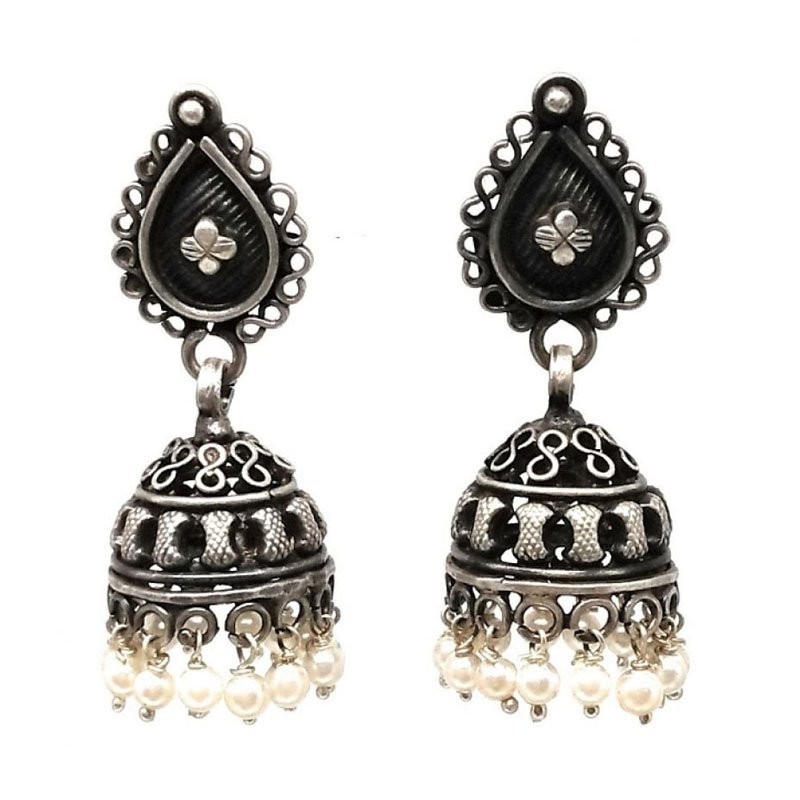 92.5 ANTIQUE SILVER FLOWER DESIGN PARTY WEAR JHUMKA FOR  GIRLS