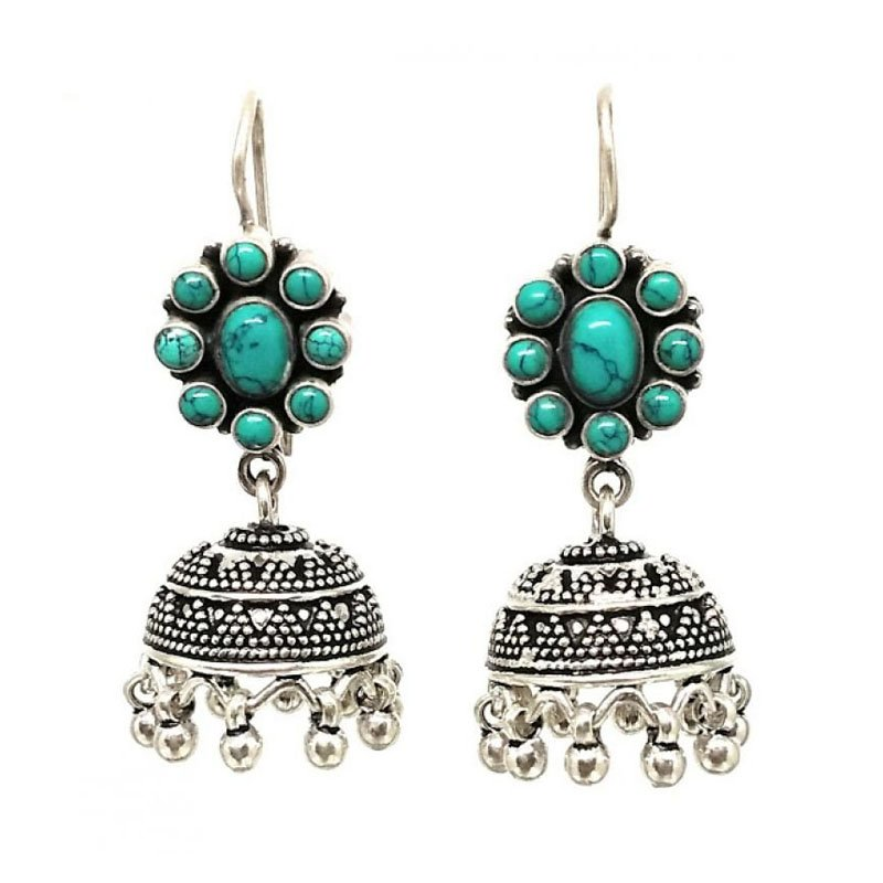 ANTIQUE SILVER GREEN COLOR STONE  JHUMKA EARRINGS FOR WOMEN'S AND GIRLS