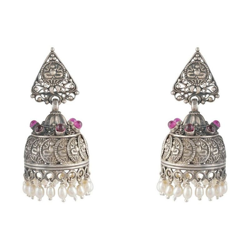 92.5 OXIDIZED SILVER STYLIST JHUMKA WITH RED STONE FOR BRIDAL