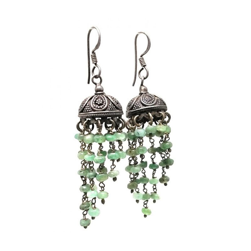 92.5 ANTIQUE SILVER GREEN STONE JHUMKA  FOR PRINCESS