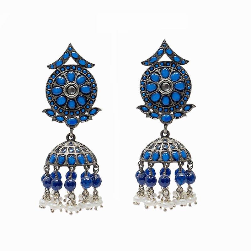 BLUE SAPPHIRE COLOR JHUMKI FOR BRIDAL