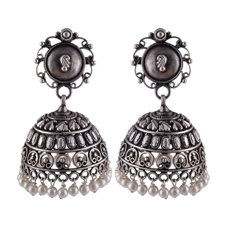 92.5  OXIDISED SILVER WHITE COLOR BALLS JHUMKA  FOR GIRLS