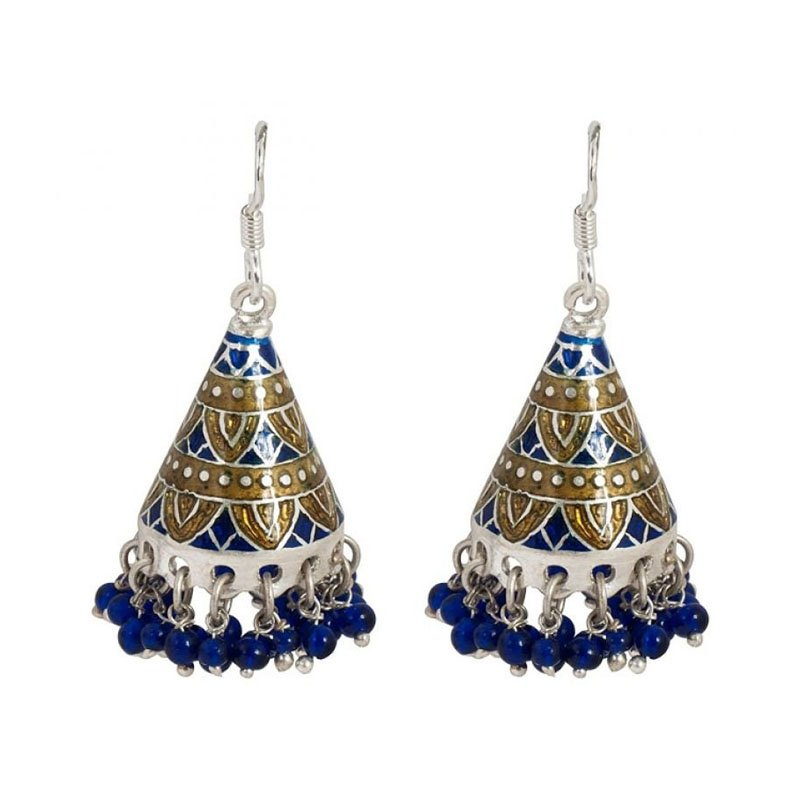 92.5 ANTIQUE SILVER BLUE COLOR CRYSTAL EARRINGS FOR GIRLS