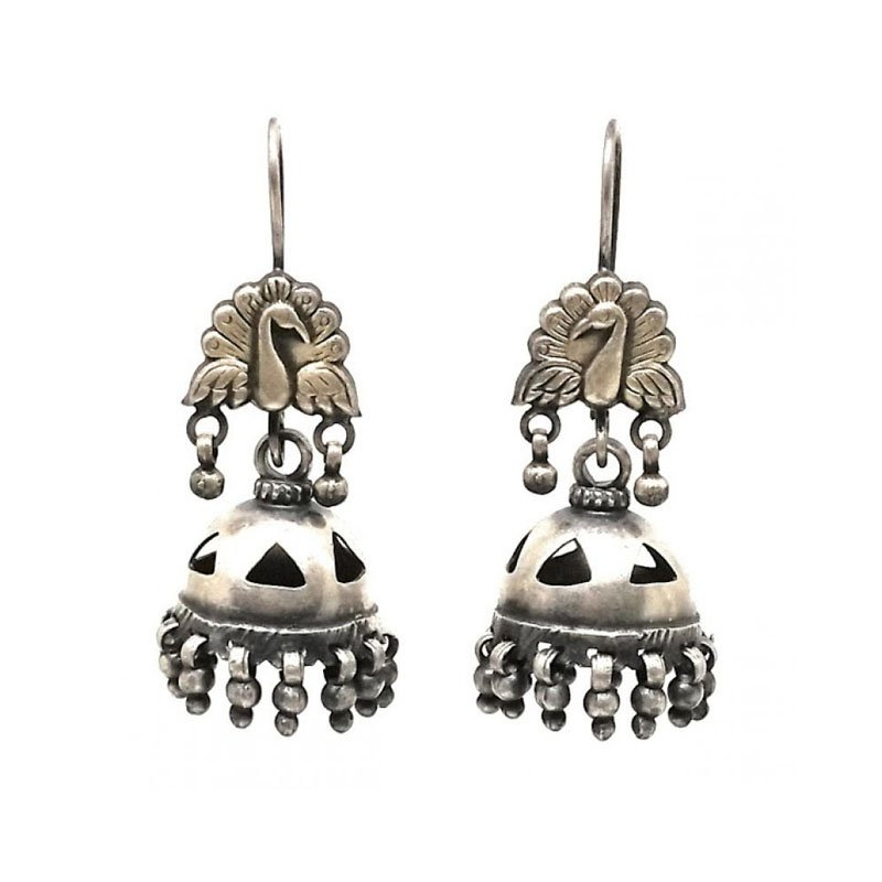 SILVER PEACOCK DESIGN JHUMKIS FOR GIRLS