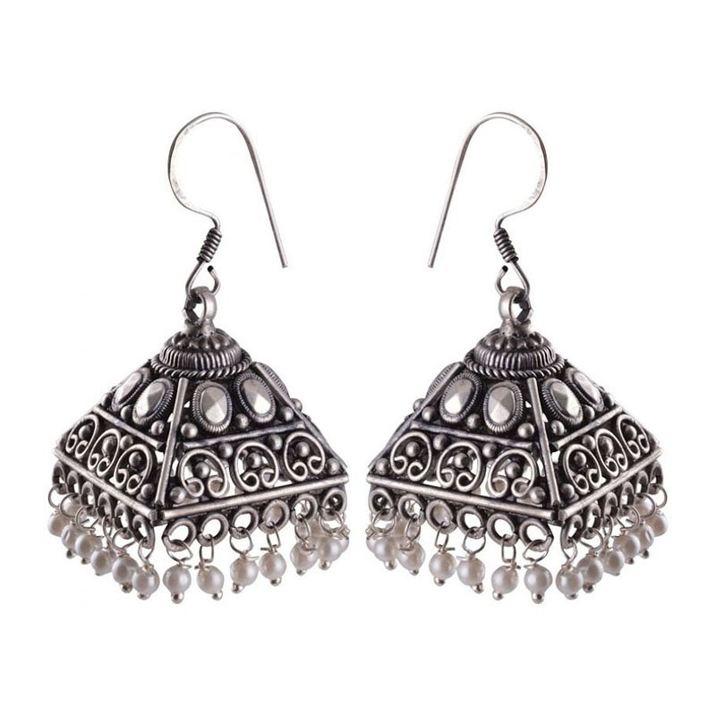 92.5 OXIDIZED SILVER FISH HOOK JHUMKA EARRINGS FOR WIFE