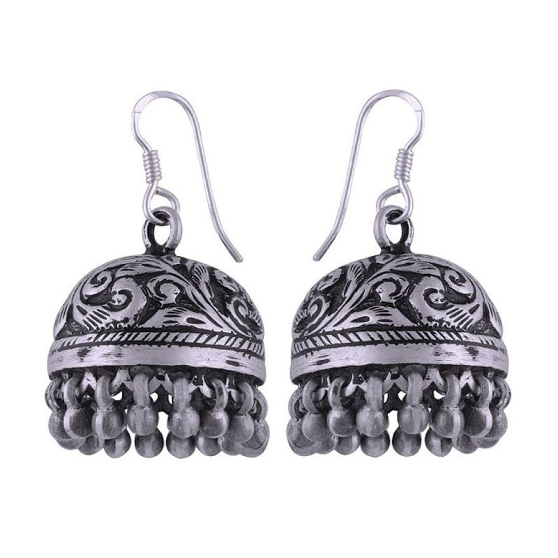SILVER OXIDISED FISH HOOK & FLOWER DESIGN JHUMKA EARRINGS FOR GIRLS AND WOMENS