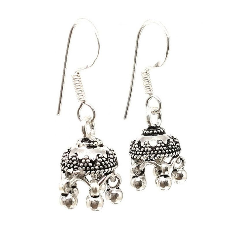 92.5 SILVER ANTIQUE FISH HOOK JHUMKA  FOR GIRLS