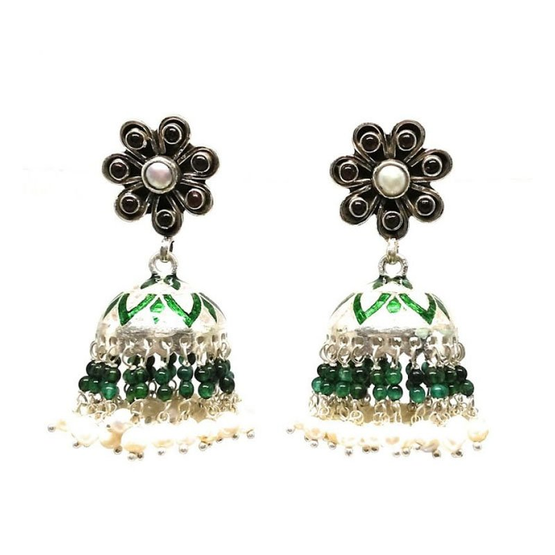 SILVER  FLOWER DESIGN WITH RED AND GREEN STONE JHUMKA  FOR GIRLS