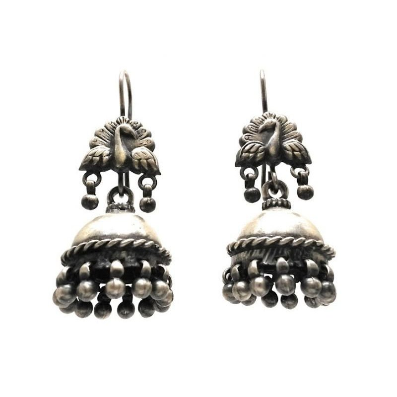 92.5 SILVER ANTIQUE  PEACOCK JHUMKA FOR LADIES