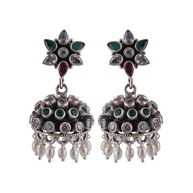 SILVER RED GREEN POLKI JHUMKAAS FOR GIRLS