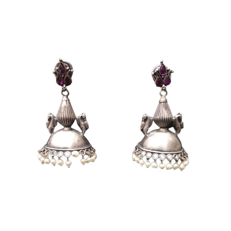 92.5 SILVER JHUMKI  WITH PEARL  DROP  EARRINGS FOR GIRLS