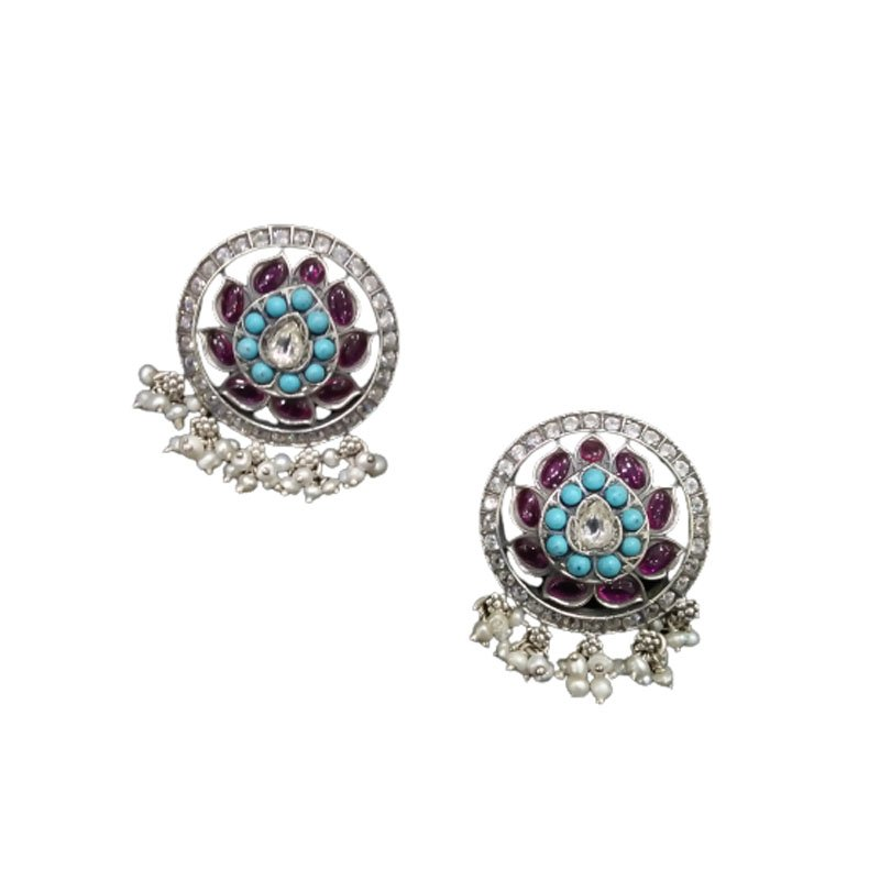 ANTIC FINISH TURQUOISE STONE STUDDED STATEMENT EARRINGS  FOR PRINCESS