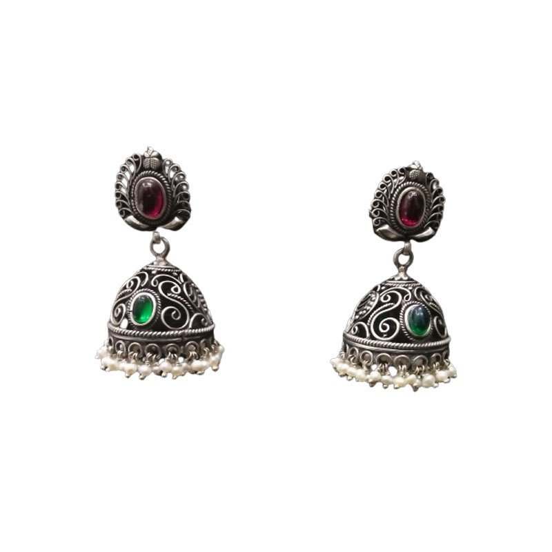 92.5 Oxidised Silver Traditional  Earrings for Women