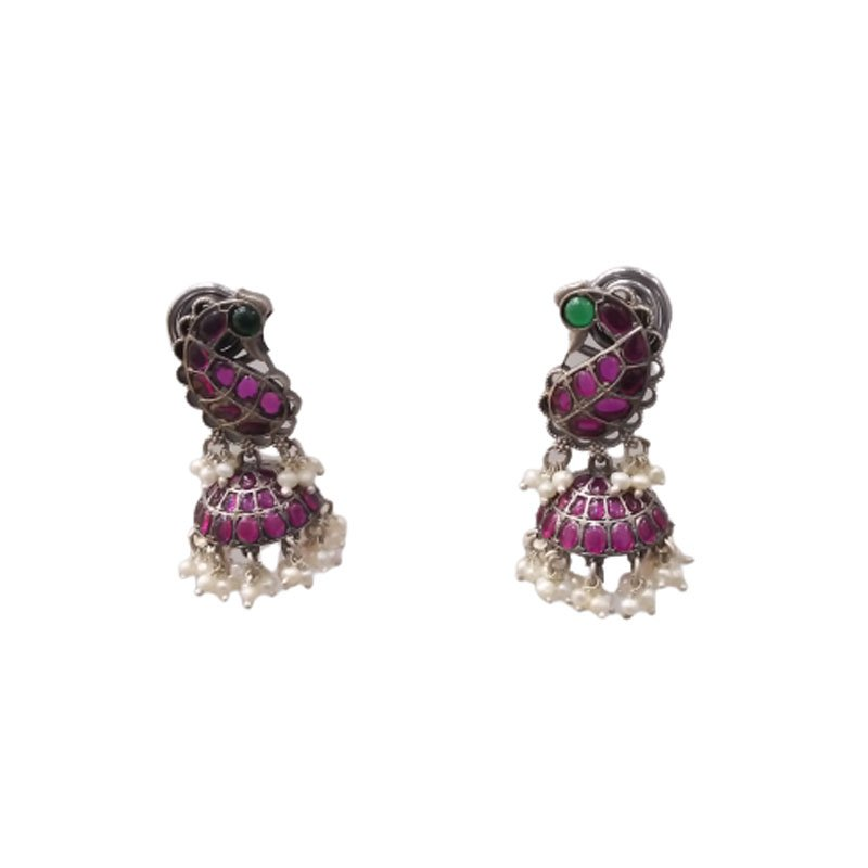 SILVER EARRINGS WITH RED STONE FOR BRIDAL