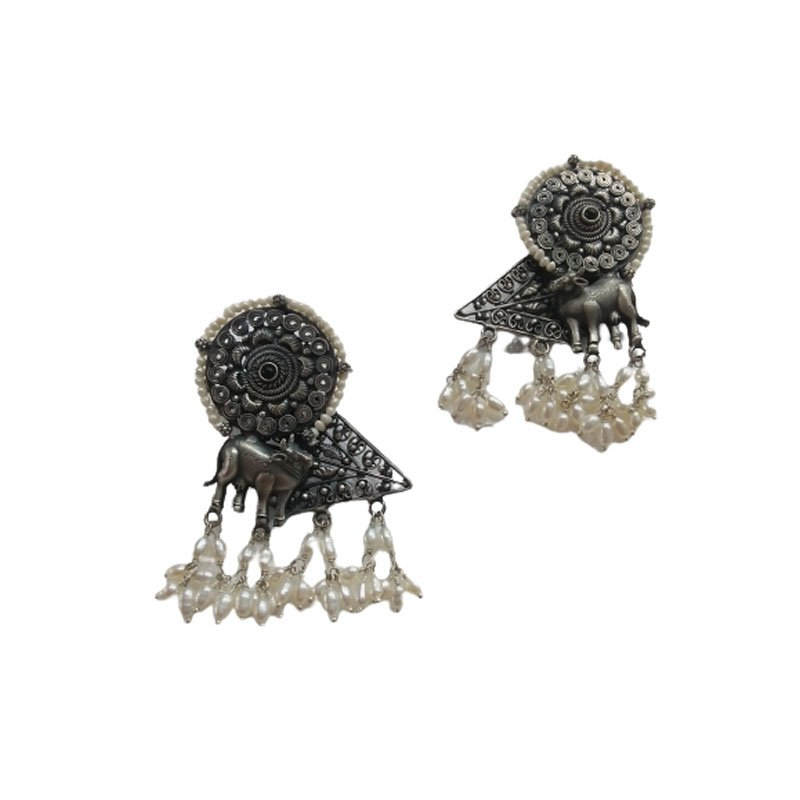 92.5 OXIDIZED SILVER FASHION EARRINGS FOR LADIES