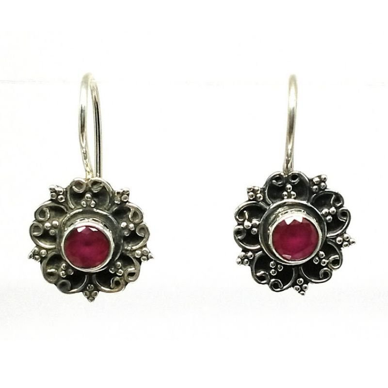Red stone studded Earrings for Women for daily office wear