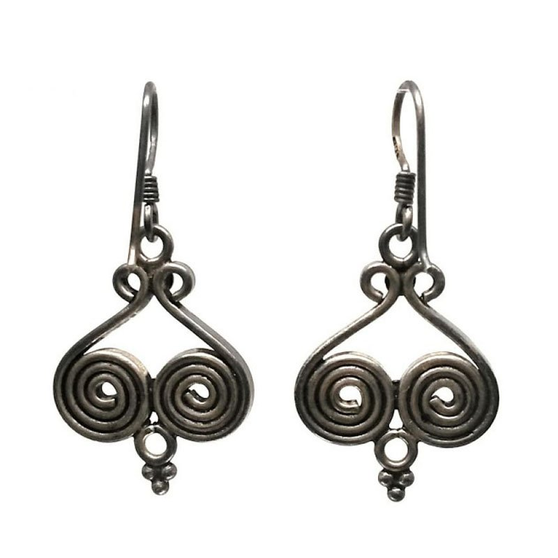 OXIDIZED SILVER ROUND DROP EARRINGS FOR PRINCESS