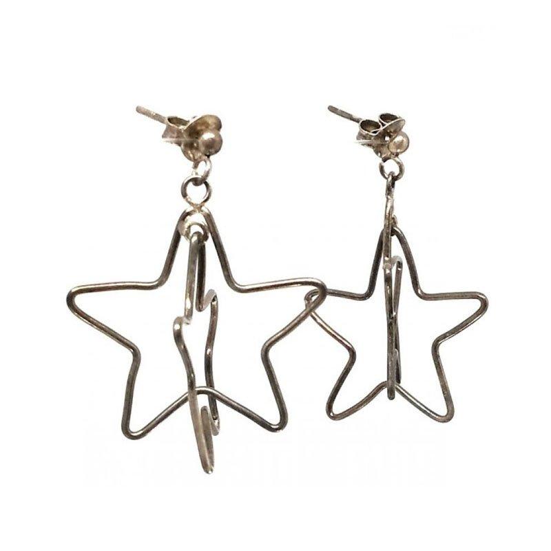 SILVER STYLLISH FANCY STAR  EARRINGS FOR  LADIES