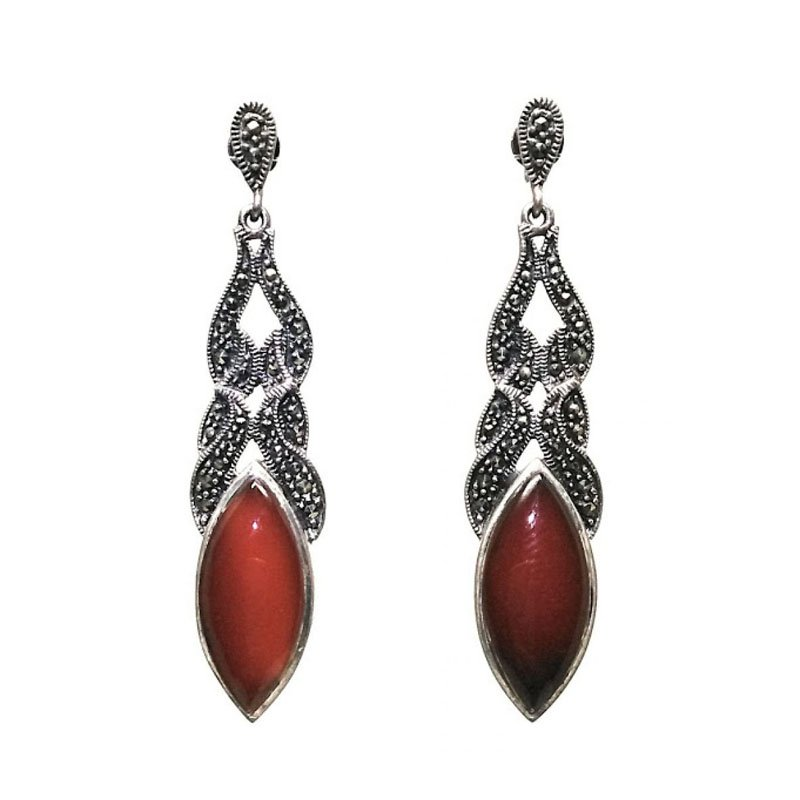 SILVER LOVELY RED GF RUBY GEMSTONE EARRINGS FOR PRINCESS