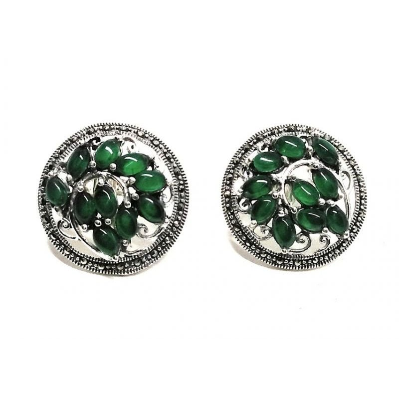 ANTIQUE  SILVER GREEN GLASS OVAL CLIP ON EARRINGS FOR LADIES