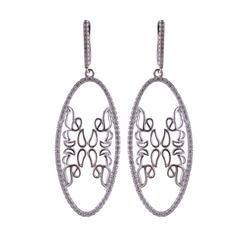 SILVER STYLISH ROUND MIRROR WITH SILVER BEADS EARRINGS FOR GIRLS AND WOMEN