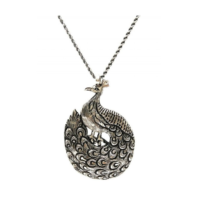 SILVER PEACOCK CHAIN PENDENT  TRIBAL JEWELLERY  FOR MEN