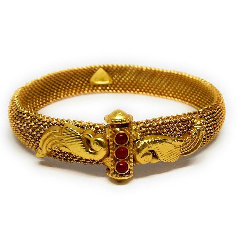 TRADITIONAL YELLOW GOLD BANGLE  WITH RED STONE FOR PRINCESS