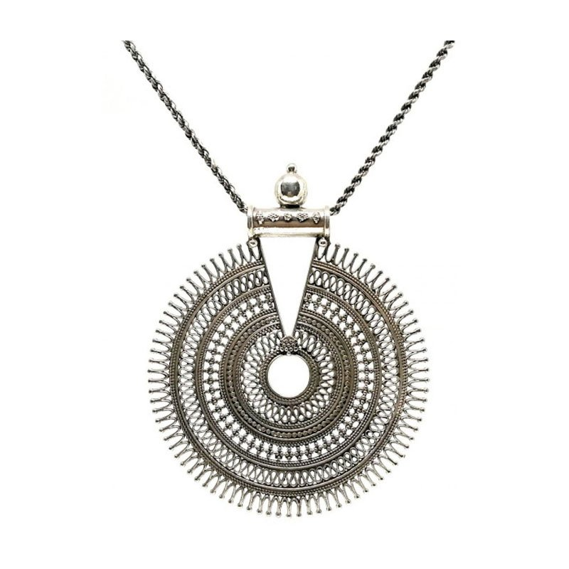 OXIDIZED SILVER HANDCRAFTED TRADITIONAL CHARM PENDANT NECKLACE SET FOR  GIRLS