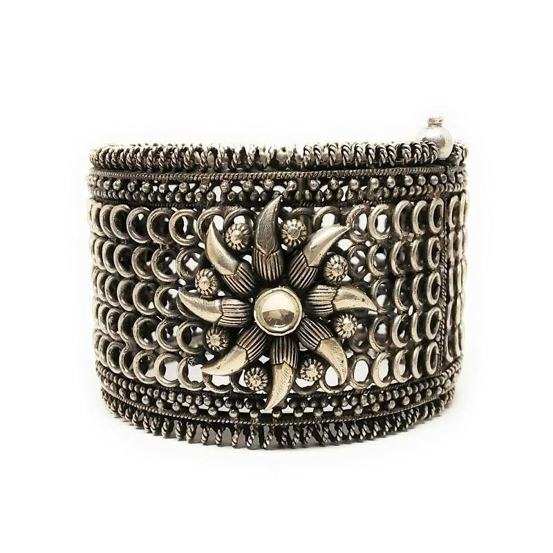 OXIDIZED SILVER VINTAGE COOKIE LEE CUFF WITH FACETED BLACK CRYSTALS FOR GIRLS
