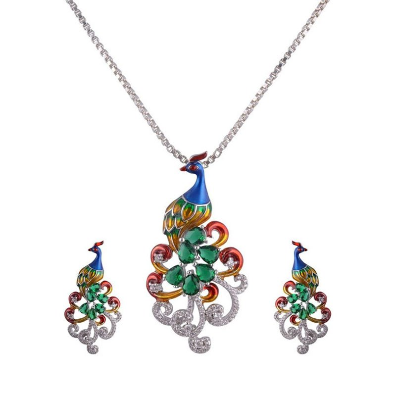 PEACOCK PENDANT WITH CHAIN FOR GIRLS