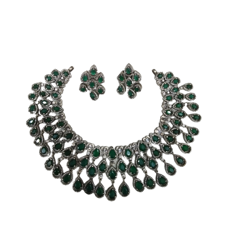 OXIDIZED SILVER TRADITIONAL NECKLACE  FOR LADIES