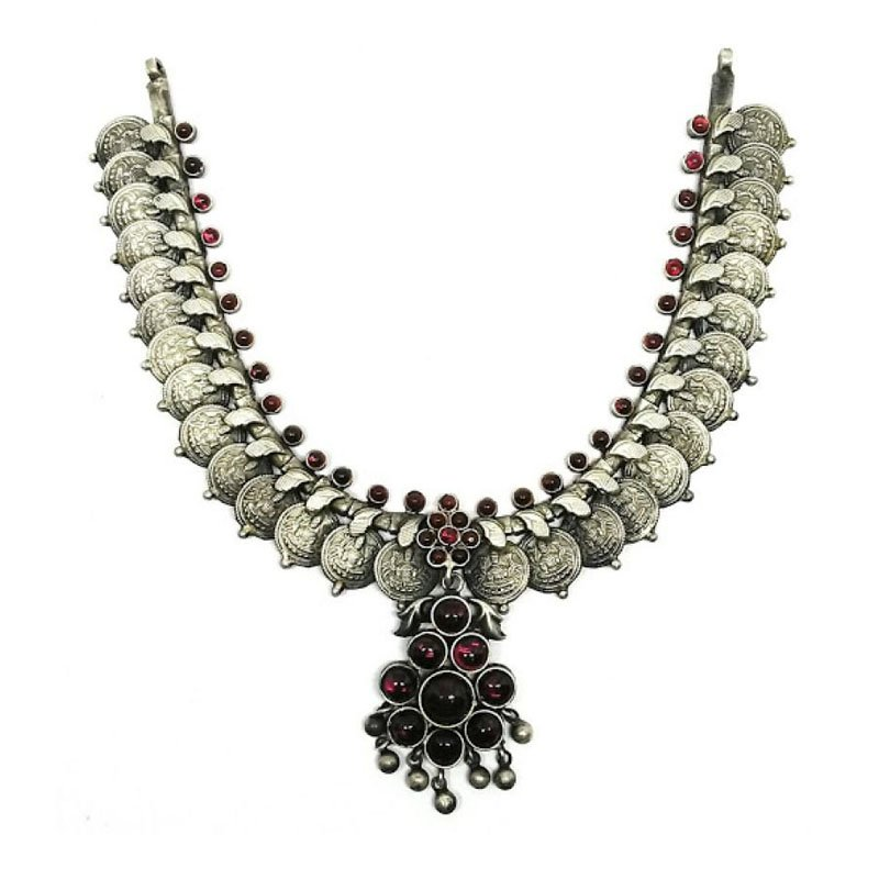 OXIDIZED SILVER  WITH RUBY EMERALD & PEARL STONE  TRADITIONAL DESIGN NECKLACE FOR GIRLS