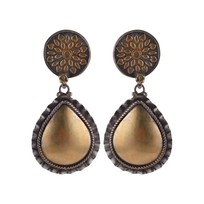 SILVER GOLD PLATED TWO TONE EARRINGS FOR BRIDAL