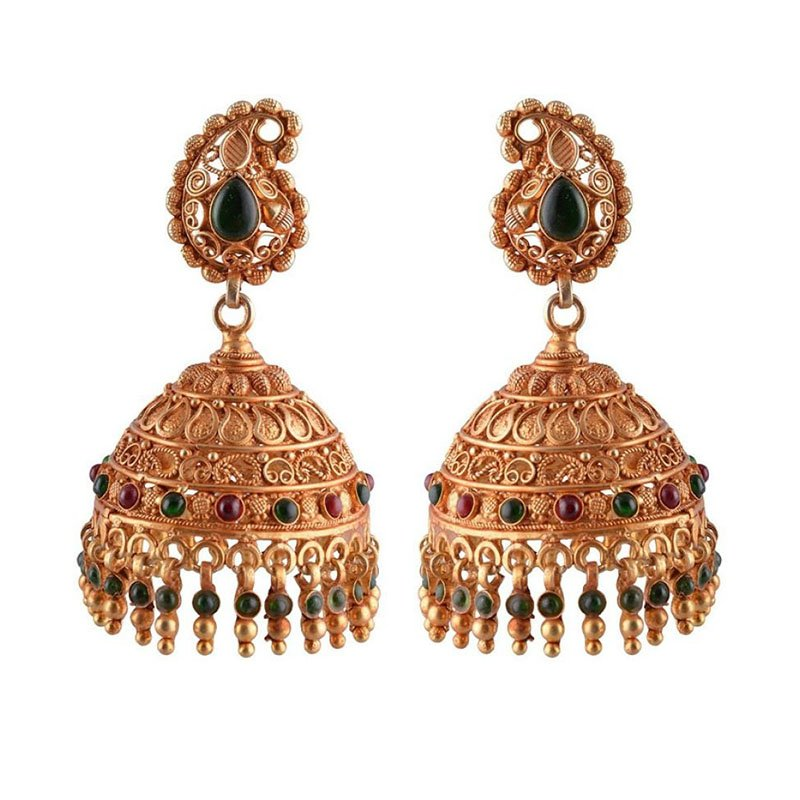SILVER GOLD POLISHED JHUMKAA FOR LADIES