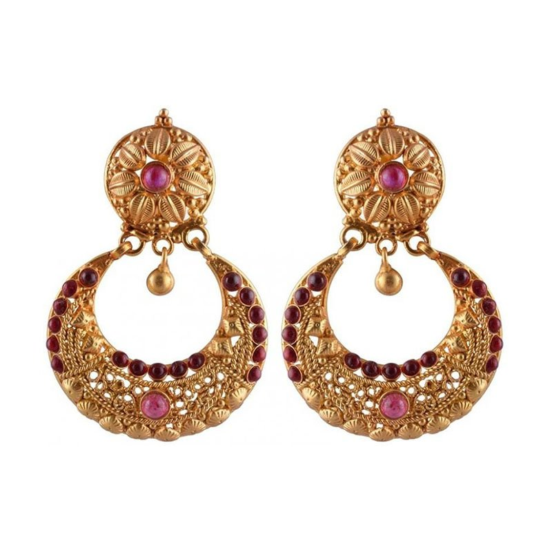 SILVER TRADITIONAL GOLD PLATED DESIGN CHAND BALI FOR LADIES