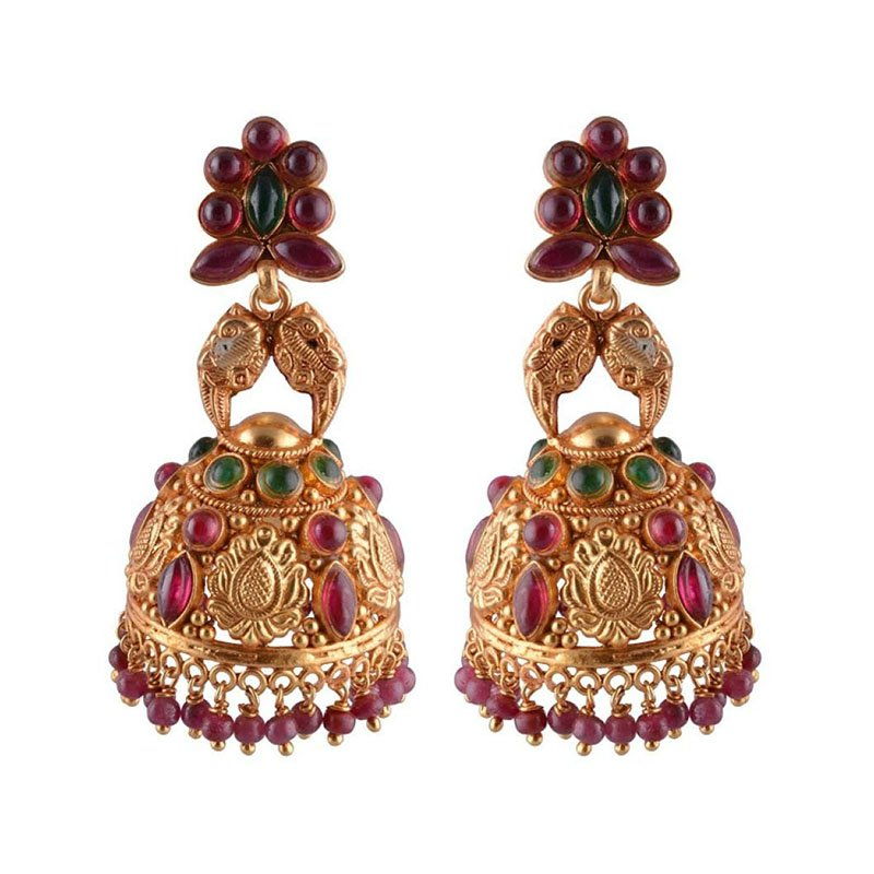 GOLD PLATED  ANTIQUE KEMP STONES EARRINGS FOR WOMEN