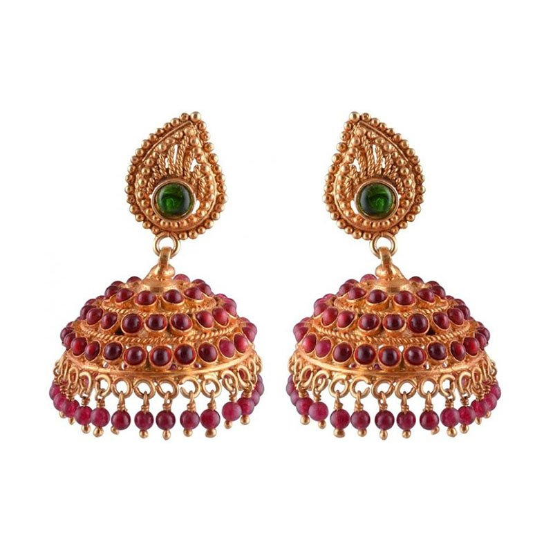 GOLD PLATED TRADITIONAL EVERGREEN & RED PEARL  JHUMKA EARRINGS FOR PRINCESS
