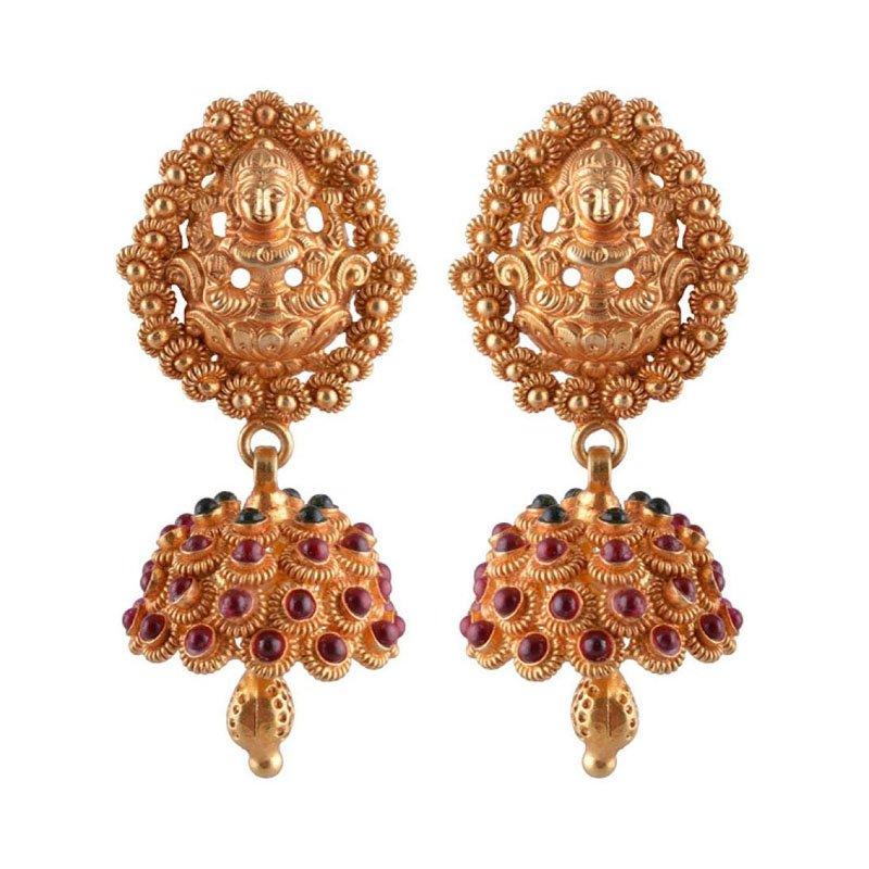 GOLD JHUMKA DESIGN OXIDISED EARRINGS FOR WOMEN