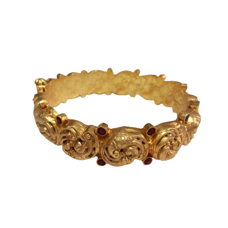 HANDCRAFTED RUBY & GREEN GOLD PLATED BANGLE FOR WOMEN