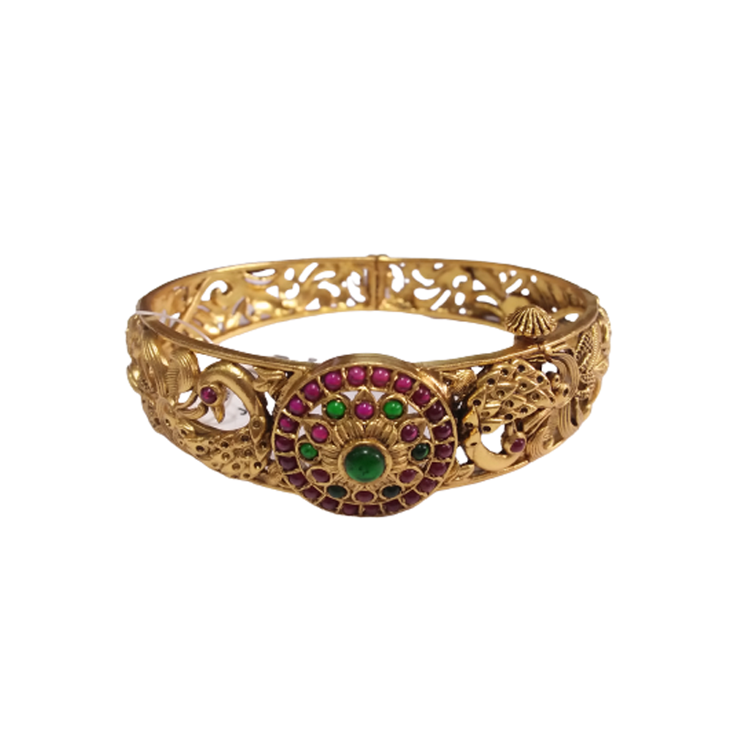 TRADITIONAL HANDCRAFTED RUBY & GREEN GOLD PLATED BANGLE FOR BRIDAL