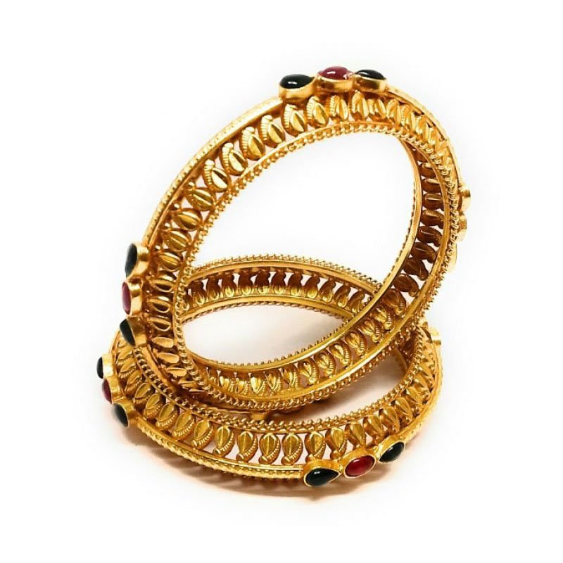 TRADITIONAL STYLLISH GOLD PLATED WITH RED STONE BANGLE FOR BRIDAL
